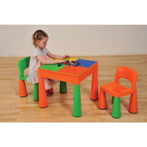 5 in 1 Multipurpose Activity Table & 2 Chairs - Green & Orange - Simply Utopia