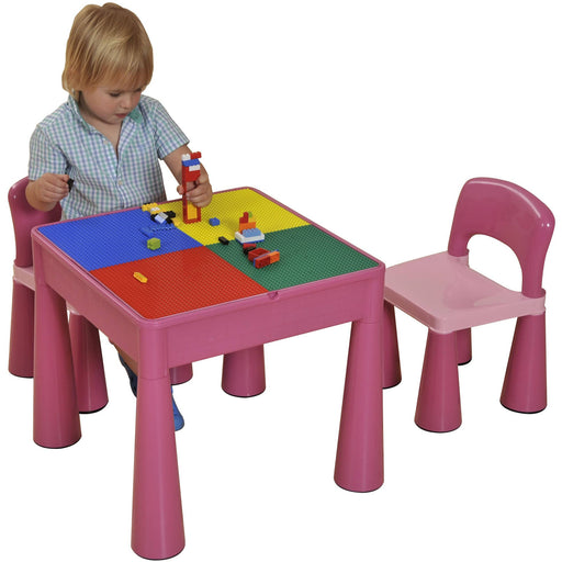 5 in 1 Multipurpose Activity Table & 2 Chairs - Pink - Simply Utopia