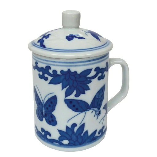 Porcelain  Blue and White Butterflies Mug - Simply Utopia