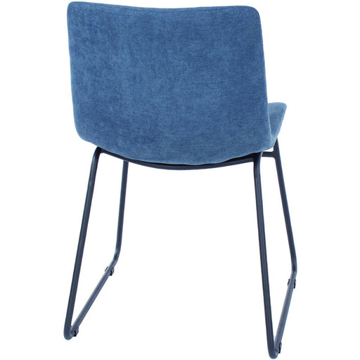 Aspen  blue fabric upholstered dining chairs with black metal legs (pair) - Simply Utopia