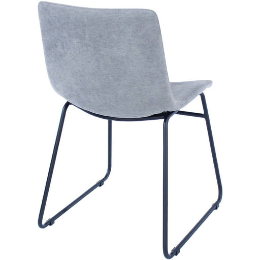 Aspen  grey fabric upholstered dining chairs with black metal legs (pair) - Simply Utopia