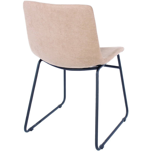 Aspen  sand fabric upholstered dining chairs with black metal legs (pair) - Simply Utopia