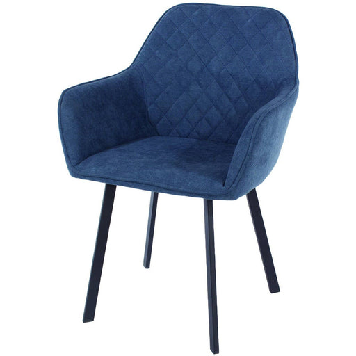 blue fabric upholstered armchairs with black metal legs (pair) - Simply Utopia