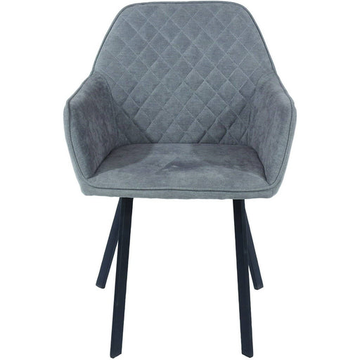 Aspen  grey fabric upholstered armchairs with black metal legs (pair) - Simply Utopia