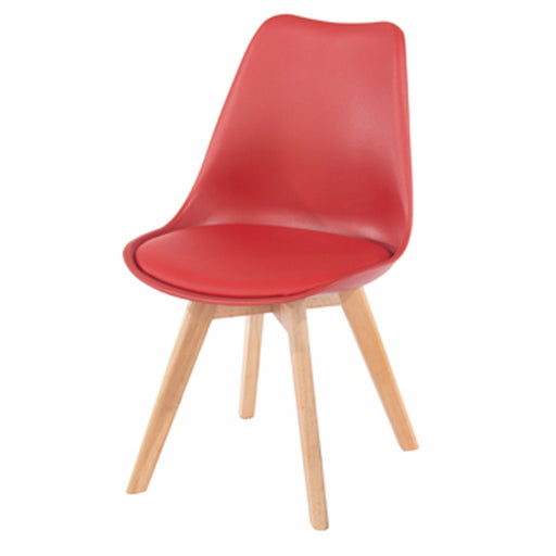 Aspen  red upholstered plastic chairs with wood legs (pair) - Simply Utopia