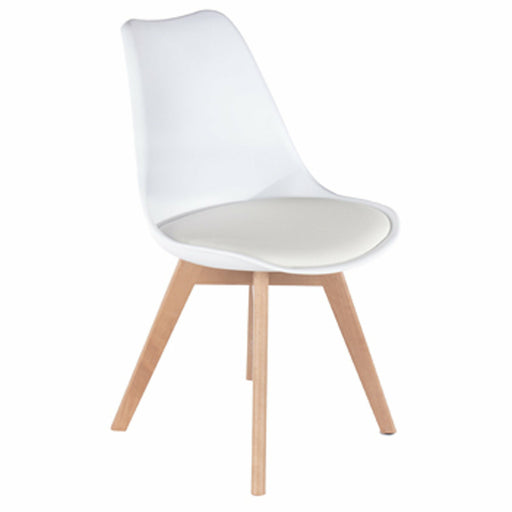 Aspen white upholstered plastic chairs with wood legs (pair) - Simply Utopia