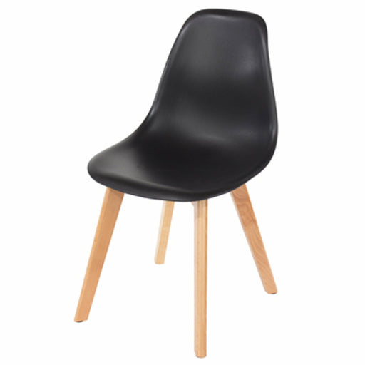 Aspen black plastic chairs with wood legs (pair) - Simply Utopia