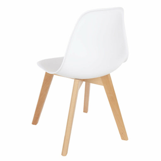 Aspen white plastic chairs with wood legs (pair) - Simply Utopia