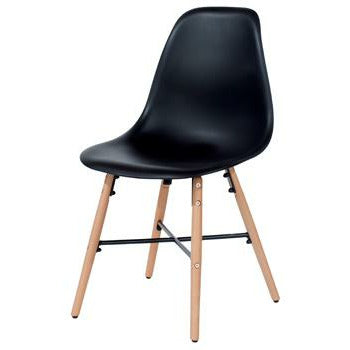 Aspen black plastic chairs with wood legs & metal cross rails (pair) - Simply Utopia