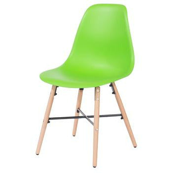 Aspen green plastic chairs with wood legs & metal cross rails (pair) - Simply Utopia