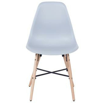 Aspen grey plastic chairs with wood legs & metal cross rails (pair) - Simply Utopia