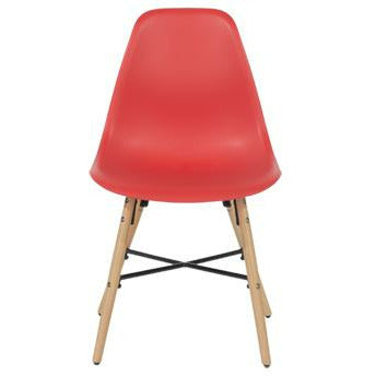 Aspen red plastic chairs with wood legs & metal cross rails (pair) - Simply Utopia