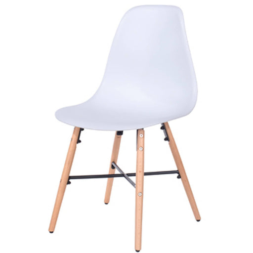 Aspen white plastic chairs with wood legs & metal cross rails (pair) - Simply Utopia