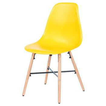 Aspen yellow plastic chairs with wood legs & metal cross rails (pair) - Simply Utopia