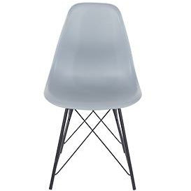 Aspen grey plastic chairs with black metal legs (pair) - Simply Utopia