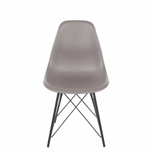 Aspen truffle plastic chairs with black metal legs (pair) - Simply Utopia