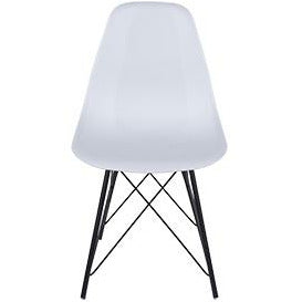 Aspen white plastic chairs with black metal legs (pair) - Simply Utopia