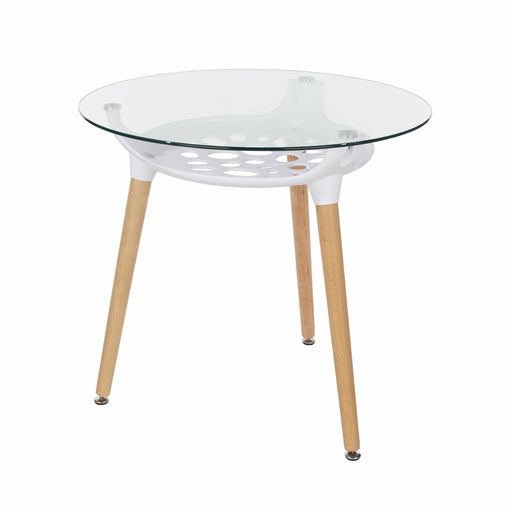 Aspen round clear glass top table with white plastic underframe & wooden legs - Simply Utopia