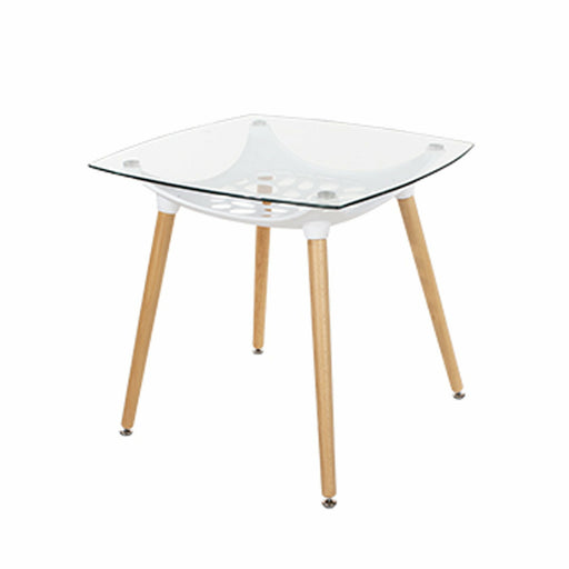 Aspen square clear glass top table with white plastic underframe & wooden legs - Simply Utopia