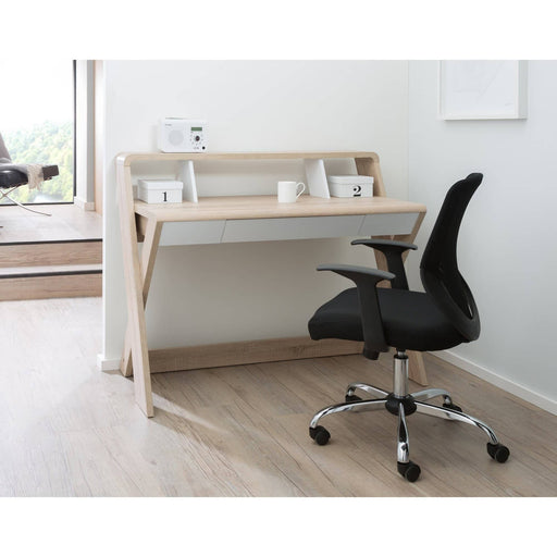Aspen Contemporary Home Office Desk With Storage Shelf in Light Oak - Simply Utopia