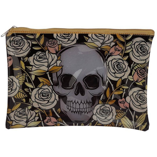 Handy Clear PVC Toiletry Make-up Bag - Skulls and Roses Design - Simply Utopia