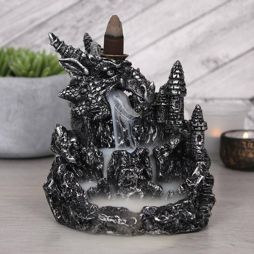 Silver Dragon Backflow Incense Burner With Light - Simply Utopia