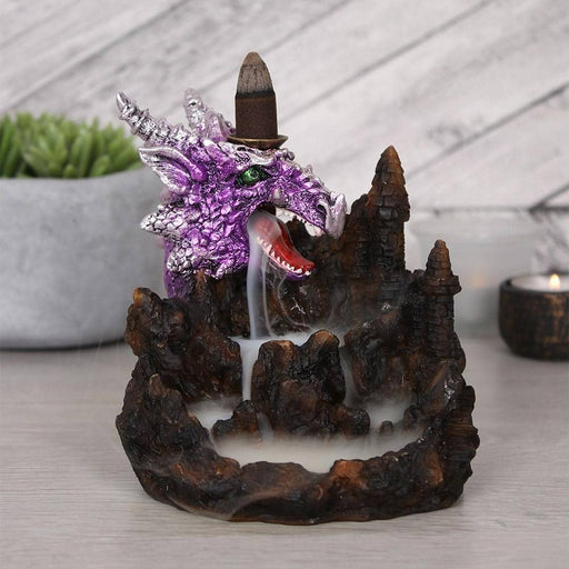 Purple Dragon Backflow Incense Burner With Light - Simply Utopia