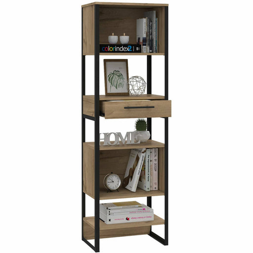 Brooklyn tall narrow bookcase with 1 drawer - Simply Utopia