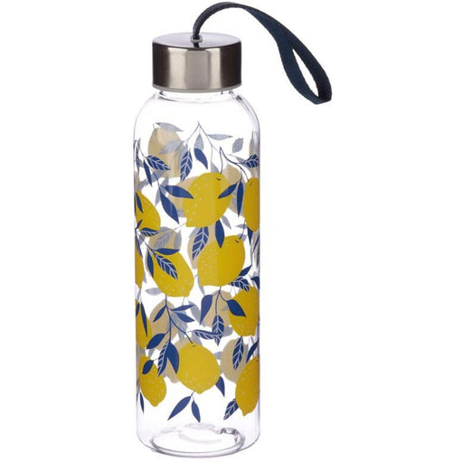 Fun Lemon Print Design 500ml Bottle with Metallic Lid - Simply Utopia