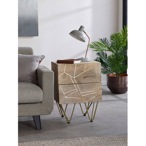 Light Gold 2 Drawer Side Table - Simply Utopia