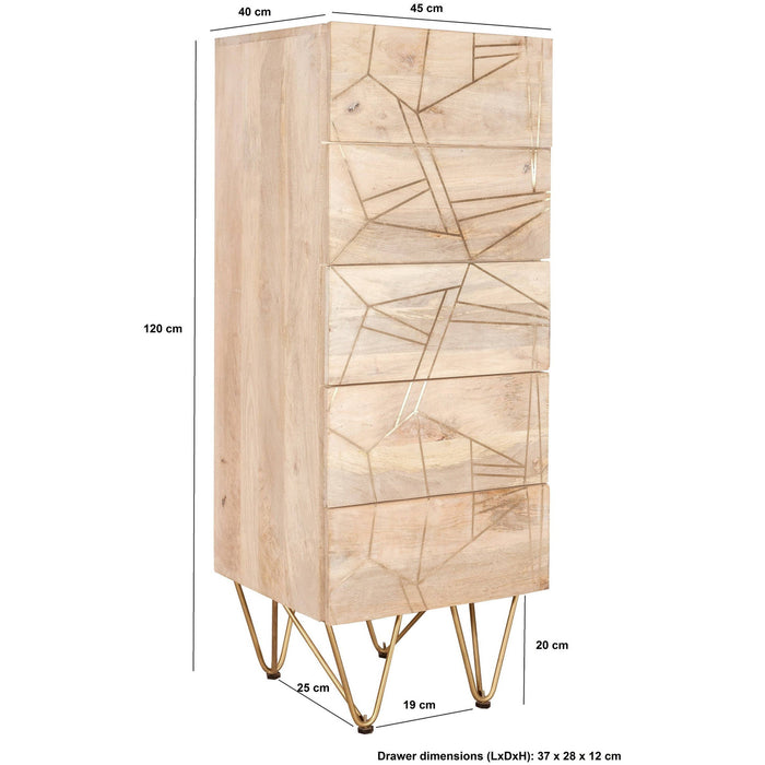 Light Gold Tall Chest Of Drawers - Simply Utopia