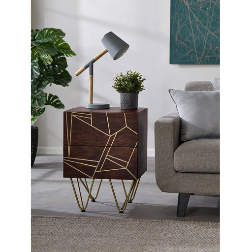Dark Gold 2 Drawer Side Table - Simply Utopia