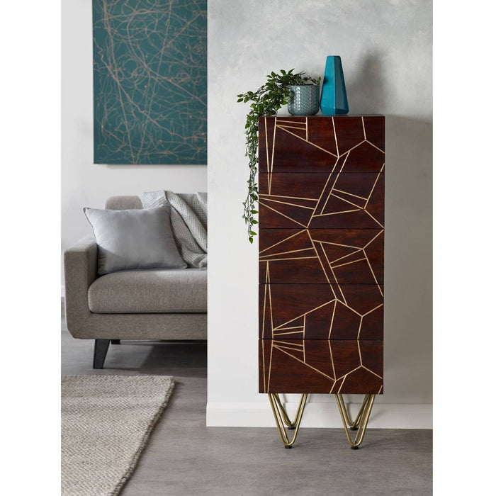 Dark Gold Tall Chest Of Drawers - Simply Utopia