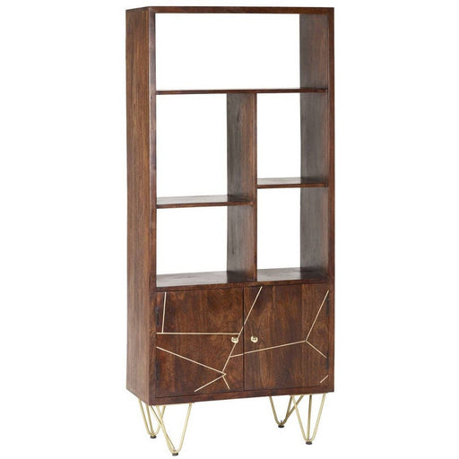 Dark Gold Finished Solid Mango Wood Large Bookcase With 2 Doors And 5 Open Shelves - Simply Utopia