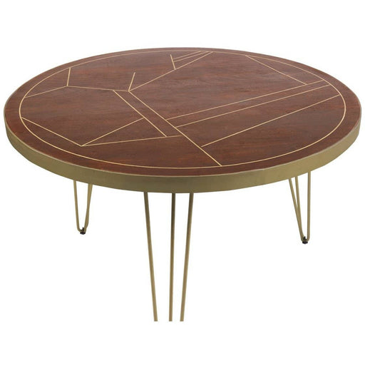 Dark Gold Round Dining Table - Simply Utopia