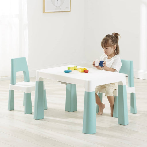 Kids White/Forest Green Height Adjustable Tableandchair Set - Simply Utopia