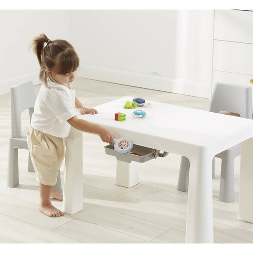 Kids White/Grey Height Adjustable Table And Chair Set - Simply Utopia
