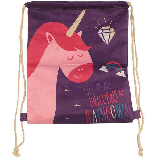 Handy Drawstring Bag - Rainbow Unicorn Slogan - Simply Utopia