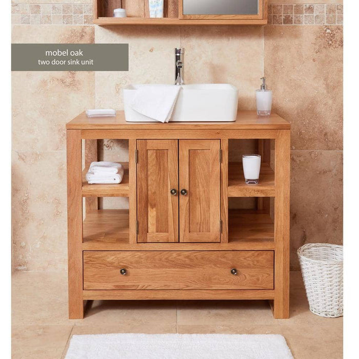Bathroom Collection - Solid Oak Two Door Single Sink Unit (Square) - Simply Utopia