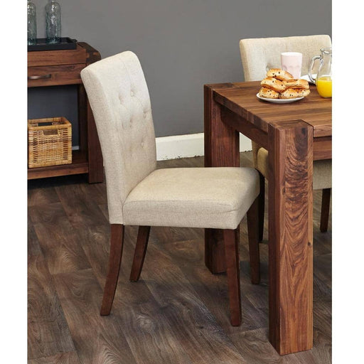 Walnut Flare Back Upholstered Dining Chair - Biscuit (Pack of Two) - Simply Utopia