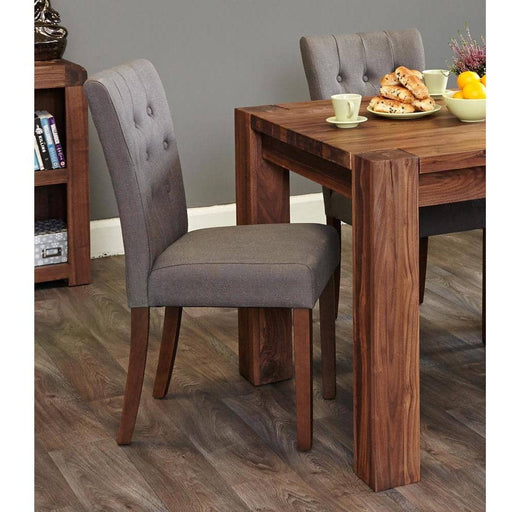 Walnut Flare Back Upholstered Dining Chair - Slate (Pack of Two) - Simply Utopia