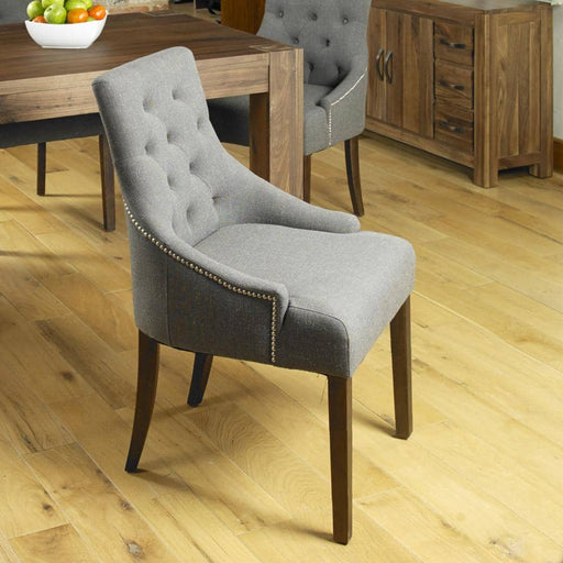 Walnut Accent Upholstered Dining Chair - Slate (Pack Of Two) - Simply Utopia