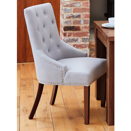 Walnut Accent Narrow Back Upholstered Dining Chair - Grey (Pack Of Two) - Simply Utopia