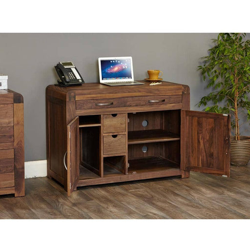 Shiro Walnut Hidden Home Office - Simply Utopia