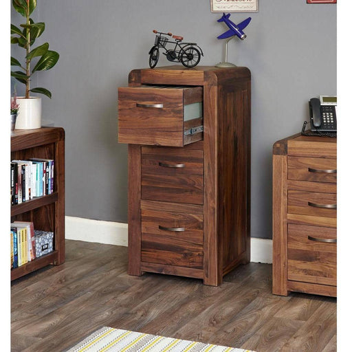 Shiro Walnut 3 Drawer Filing Cabinet - Simply Utopia