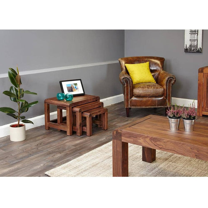 Shiro Walnut Nest of 3 Coffee Tables - Simply Utopia