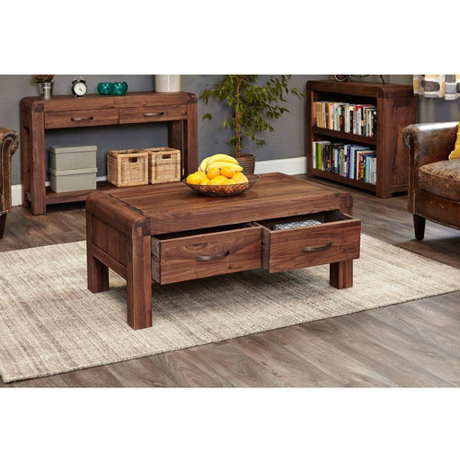 Shiro Walnut Four Drawer Coffee Table - Simply Utopia