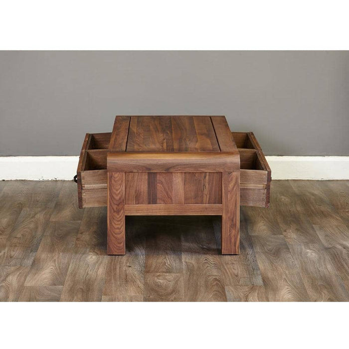 Shiro Solid Walnut Four Drawer Coffee Table With Bronze Handles - Simply Utopia