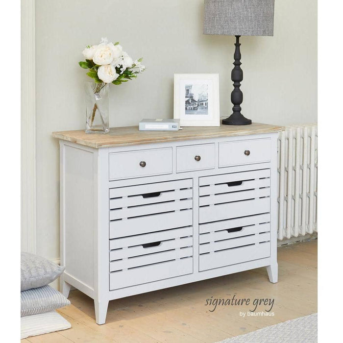 Signature Solid Wooden Grey 7 Drawer Sideboard / Servery - Simply Utopia