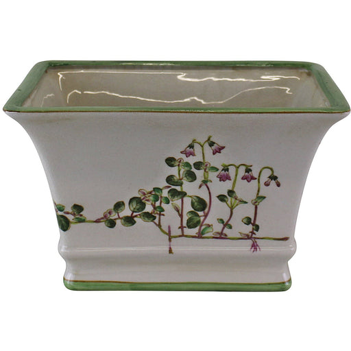 Glazed Ceramic Rectangular Planter, Width 25cm Green and Pink Floral Design - Simply Utopia